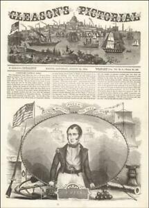 COMMODORE OLIVER PERRY, Battle of Lake Erie, antique engraving original 1854