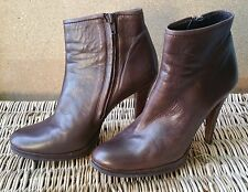 All Seasons PEDRO GARCIA Dark Brown Zippered Ankle Boot SZ 38 1/2 Made in Spain