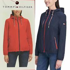 Tommy Hilfiger Women's Hooded Windbreaker Jacket (Red, Navy)