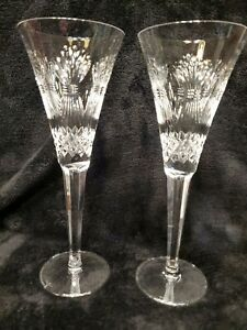 MINT Pair 2 Waterford Millennium Champagne Toasting Flutes PROSPERITY