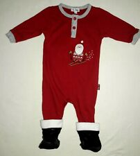 Santa coverall suit outfit baby boys size 3-6M booted feet LE TOP Christmas