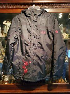 MOUNTAIN HARDWEAR Girls Winter Jacket Large Black Pink Flowers Excellent Used
