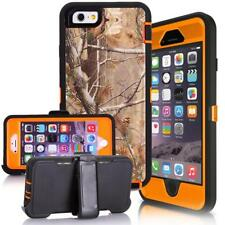 For iPhone 6 6S 7 8 Plus Case Orange/Tree Camo Holster Case Fits Otterbox Clip