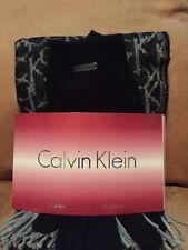 Calvin Klein 2 Piece Scarf and Tech Gloves Set $58 NWT Black Heather Gray Logo