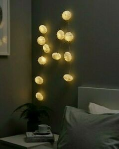 IKEA STRÅLA Led String Light With 12 Lights, Battery Operated/ Origami White,New