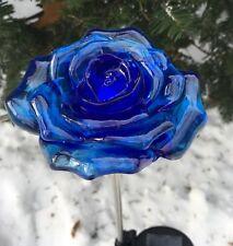 Solar Blue Rose White LED Light  Flower Garden Outdoor Yard Decor Landscape