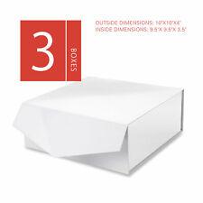 3Pc Large White Gift Box Magnetic Closure Valentine Birthday Bridesmaid Wedding