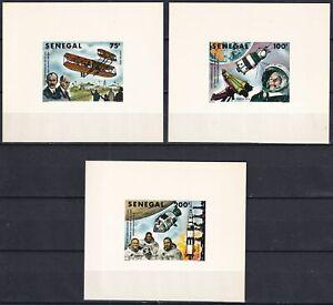 SENEGAL 1978, Sc# 491-93, Deluxe Sheets, Carton Paper, Gagarin-Apollo 8