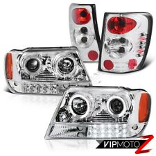 JEEP 99-04 GRAND CHEROKEE WJ WG CHROME LED PROJECTOR HEADLIGHT+TAIL LIGHT COMBO