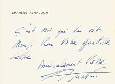 Charles AZNAVOUR / Carte autographe signée.