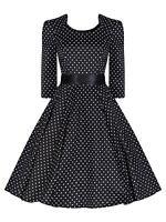 Ladies 50's Vintage Style Black Polka Dot Crop Sleeve Swing  Dress New 8 - 26
