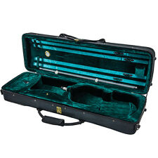 Deluxe 4/4 Oblong Acoustic Violin Fiddle Case Black/Green Strap