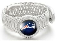 New England Patriots Football Sterling Silver Womens Mens Bracelet + GiftP D11