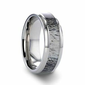 Titanium Polished Beveled Men's Ring with Ombre Deer Antler Inlay - 8mm NEW