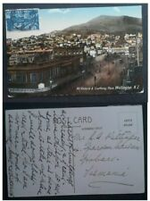 "RARE 1914 New Zealand Postcard "" Mt Victoria "" ties 2 1/2d stamp to Tasmania"