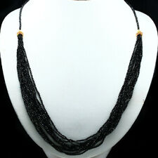 "NATURAL BLACK SPINEL & RED RUBY NECKLACE 28"" 925 STERLING SILVER"