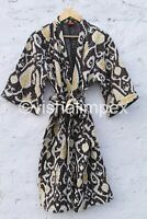 Ikat Print Cotton Kantha Jacket Indian Handmade Women's Coat Bathrobe Kimono