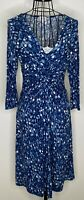 Pretty Ladies EAST Blue White Patterned V Neck Midi Dress Size 10