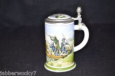 1978 Franklin Porcelain Zinn Bleifrei Lidded Stein, Made in Bavaria - Duck Hunt