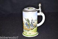 1978 Franklin Porcelain Zinn Bleifrei Lidded Stein, Made in Bavaria - Duck Hunt