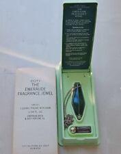 Vintage COTY EMERAUDE FRAGRANCE JEWEL SET Body Oil 1/16oz & PENDANT Necklace gol
