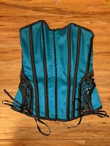 Womens Turquoise Blue Aqua Corset Bustier Lace up back Strapless Halloween SMALL