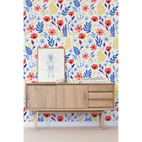 Cold Flowers Floral Wallpaper white mural Self Adhesive Peel & Stick