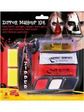 Halloween Zipper Face Scary Kit Special Effects FX Makeup Devil Demon Vampire