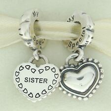 Authentic Pandora 791383 My Special Sister Two Piece Heart Sterling Bead Charm