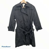 Sophie Max Womens Solid Black Belted Lightweight Trench Coat, 3/4 Sleeve, Small