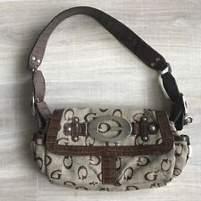 GUESS Canvas G Logo Womens Handbag Purse Baguette Tan Brown Metal