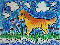 CURLY COATED RETRIEVER Collecting Seashells Pop Vintage Art 8 x 10 Signed Print