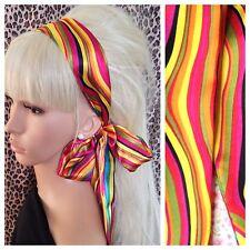 ONDA Multicolore Raso Per Capelli, Sciarpa Head Band Self Cravatta Fiocco 60s Retrò Costume