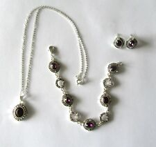 Fashion Jewelry Set: Necklace, Bracelet & Earrings- silver tone-purple stones
