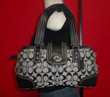 COACH SIGNATURE HAMPTON Jacquard & Leather Black & Tan Bag Satchel Purse F13975