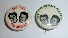 Two Political Pinbacks 1970s Robert & John Kennedy They Died For America