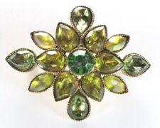 Brooch Pin - LC Liz Claiborne - Flower Swag - Green & AB Rhinestones - Gold Tone