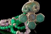 OLD CHINESE CARVED TURQUOISE SNAKE DRUZY CHRYSOPRASE AMETHYST STERLING PENDANT