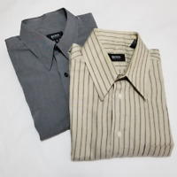 Hugo Boss Men's Long Sleeve Dress Shirts | Size 16.5 | LOT OF 2: Gray & Beige