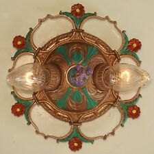 Antique Art Deco Victorian ROUND 2-Light Flush Ceiling Fixture Chandelier RESTOR