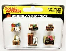 HO Scale Woodland Scenics A1953 Miscellaneous Assorted Freight Baggage (6) pcs