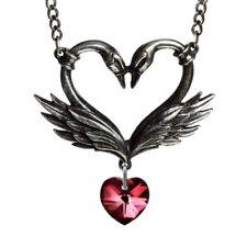 ALCHEMY BLACK SWAN ROMANCE PENDANT Red Swarovski Gothic Heart + FREE GIFT BOX