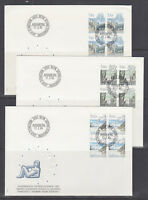 Switzerland Mi 1242/1259, 1983 issues, 5 complete sets in blocks of 4 on 14 FDCs