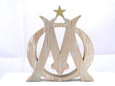 Logo OM en chêne découpé chantourné