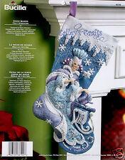 "Bucilla Snow Queen ~ 18"" Felt Christmas Stocking Kit #86109 Sleigh, Blue & White"