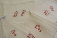 7 serviettes anciennes damassé, N°257 ,monogramme BP  ,table