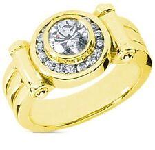 1.01 ct Round Diamond Engagement Wedding Mens Ring 14k Yellow Gold 1.38 tcw