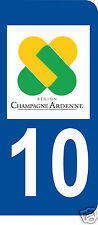 1 Sticker plaque immatriculation AUTO adhésif département 10