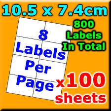 100Sheet 10.5x7.4cm 8 Labels Per Pg A4 Office Mailing Address Label Laser Inkjet