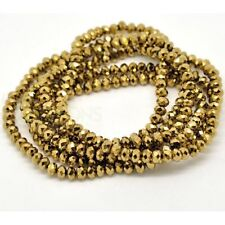 1 STRAND DARK GOLD CRYSTAL FACETED RONDELLE BEADS ~6mm~APPROX 100 BEADS  (78C)